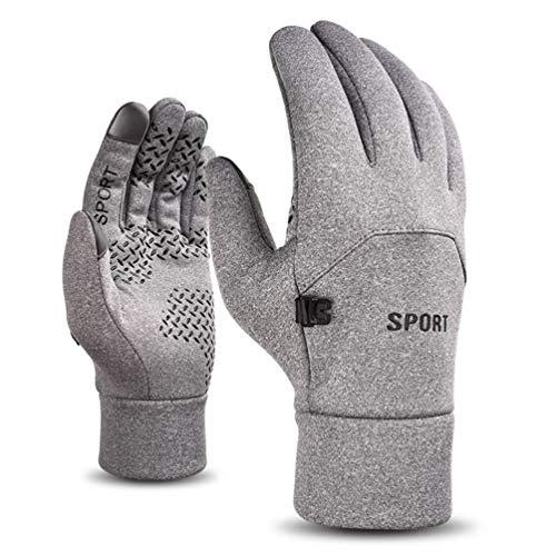 Voqeen Winterhandschuhe Touchscreen Handschuhe Wasserdicht Plus Fleece Thermohandschuhe Leichte Anti-Rutsch Radfahren Laufen Wandern Reiten Handschuhe für Männer Frauen Gr. Einheitsgröße, Grau a