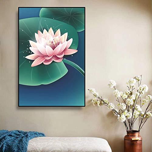 Lienzo de loto abstracto pintura cartel moderno imágenes artísticas decoración de pared estilo chino imágenes artísticas para el hogar para sala de estar pasillo regalo de cumpleaños -24x32inch