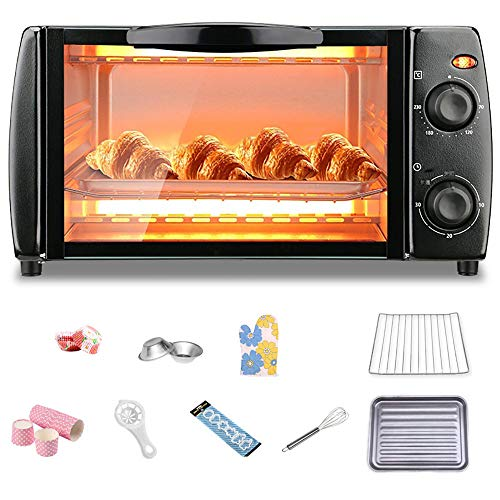10L Electric Mini Oven with 171 Baking Accessories, Toaster Oven Convection with Removable Crumb Tray, 30 Minutes Timing, Free Temperature Control, Easy to Clean,Black-750W