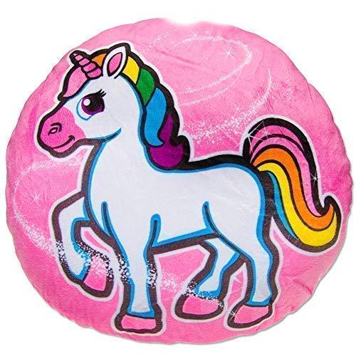 TE-Trend Magic Unicornio Arco Iris Unicornio Motivo Felpa Cojín con Detalles Cojín Afelpado Niños Niñas Redondo 34cm Multicolor - Rosa Caballo