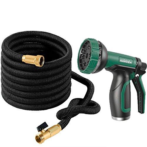 Joeys Garden Expandable Garden Hose Set, 75 Feet Heavy Duty Extra Strong Stretch Material with Brass Connectors - Bonus 10 Way Spray Nozzle