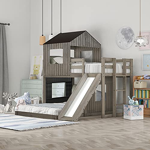 NORAN Wooden Twin Over Full Bunk Bed, Loft Bed with Playhouse, Farmhouse, Ladder & Guardrails for Kids, Toddlers, Boys & Girls (Antique Gray, Twin Loft Bed with Slide)