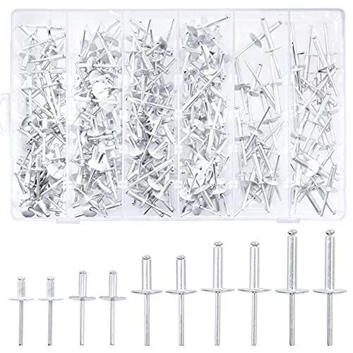 Cimeton 240Pcs 5 Sizes Large Flange Aluminum Blind Rivets Assortment Kit 3/16'' Diameter, Pop Rivets for Indoor and Outdoor Use