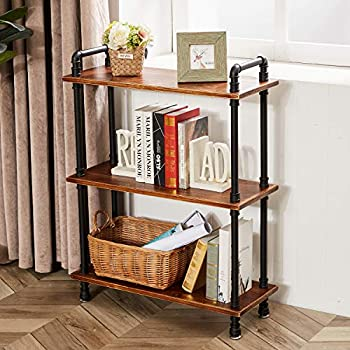 3-Tier Industrial Open Bookcase Iron Pipe Bookshelf with Solid Wood Display Storage Stand Shelf Bookcase for Living Room Kitchen Office Rustic Brown 29.5  L x 11.8  W x 39  H