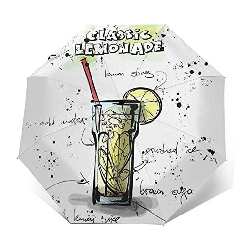 Paraguas Plegable Automático Impermeable Limonada Dibujada Cóctel, Paraguas De Viaje Compacto Prueba De Viento, Folding Umbrella, Dosel Reforzado, Mango Ergonómico