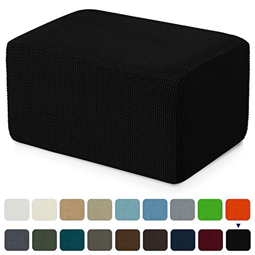 subrtex Stretch Storage Ottoman Slipcover Protector Oversize Spandex Elastic Rectangle Footstool Sofa Slip Cover for Foot Rest Stool Furniture in Living Room (XL, Black)