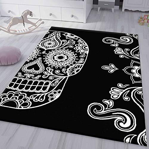 VIMODA Jugendzimmer Kinderzimmer Wohnzimmer Schlafzimmer Schwarz Skull Totenkopf Motiv, Maße:80x150 cm