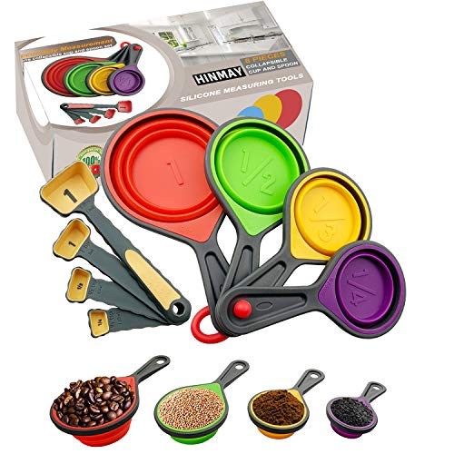 Himi Silicone Collapsible Measuring Cup and Spoon Set with Plastic Handle - Set of 8 - Perfect for Coffee, Supplements, Flour, Grains, Lentils, Spices, Honey, Liquids and Pet Food Feeding