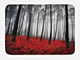 Ambesonne Forest Bath Mat, Mystical Fantasy Woodland Under Heavy Fog Tall Trees Bushes Contrast Colors, Plush Bathroom Decor Mat with Non Slip Backing, 29.5' X 17.5', Red Gray