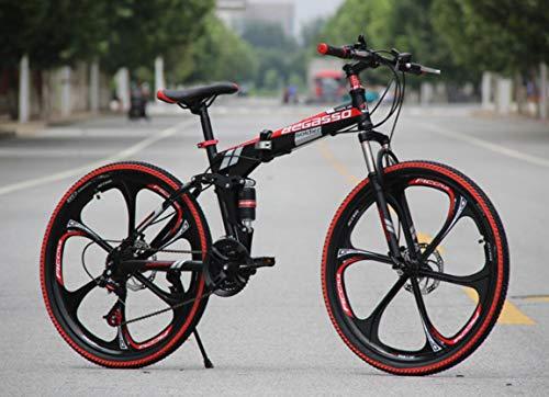 Hycy Pieghevole da Mountain Bike da 26 Pollici con Freni A Disco in Mountain Bike,Black