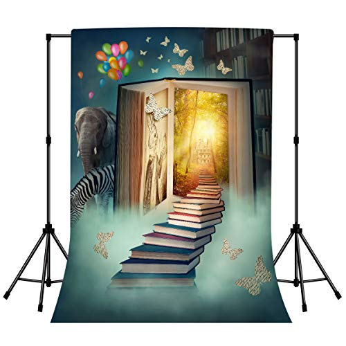 LYLYCTY Birthday Party Photo Background Book World Fairy Tale Photography Backdrop Kids Party Decorations 3x5ft with Pole Pocket Photo Studio Props PTBLY15