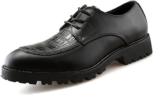 XHD-Chaussures La Mode Masculine de sécurité au au Travail Bout Rond de Couleur Unie Chaussures décontractées (Couleur   Noir, Taille   41 EU)