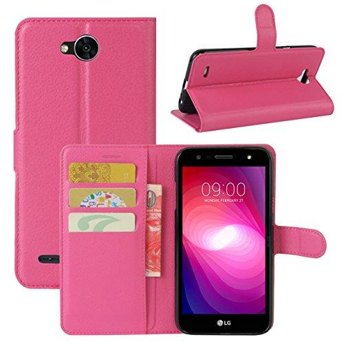 HualuBro LG X Power 2 HandyHülle, Leder Brieftasche Etui Lederhülle Tasche Schutzhülle Hülle [Standfunktion] Handytasche Flip Hülle Cover für LG XPower 2, LG X Power II (Rose)