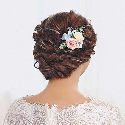 IYOU Hochzeit Seiten Kämme Blau Blume Haarkämme Blätter Braut Kopfstück Abschlussball Strand Haarschmuck zum Braut und Brautjungfer