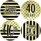 Black and Gold 40th Birthday Favor Stickers, 1.75 in - Shiny Foil - 40 Labels