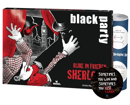 Black Party - Set: Ruhe in Frieden, Sherlock + 7X Exit-Sticker + 1x optisches Täuschungsposter