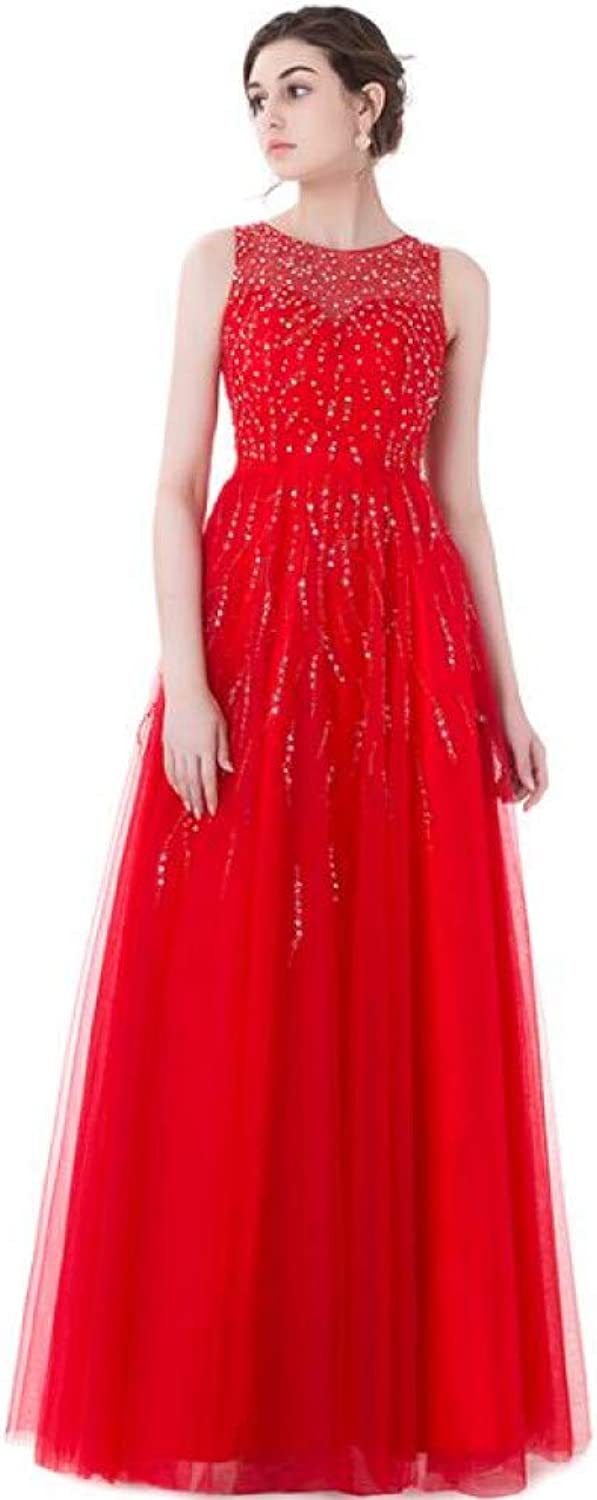 DRLYQYJF Long Red Evening Dresses Prom Dress Sheer Back Sequined Beaded Evening Gown