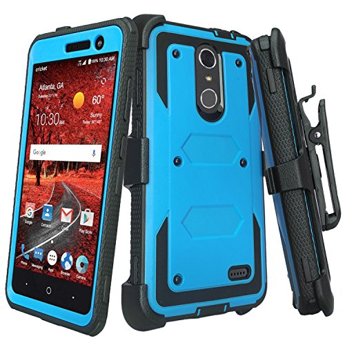 Galaxy Wireless] Compatible for ZTE ZMAX One (Z719DL) Case,ZTE Grand X4 Case,ZTE Blade Spark Z971 Case Shock Proof Heavy Duty Belt Clip Holster,Full Body Coverage [Built in Screen Protector] Blue