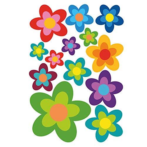 ORAFOL Juego de 13 pegatinas para coche, diseño hippie con flores, ideal para VW Bulli California