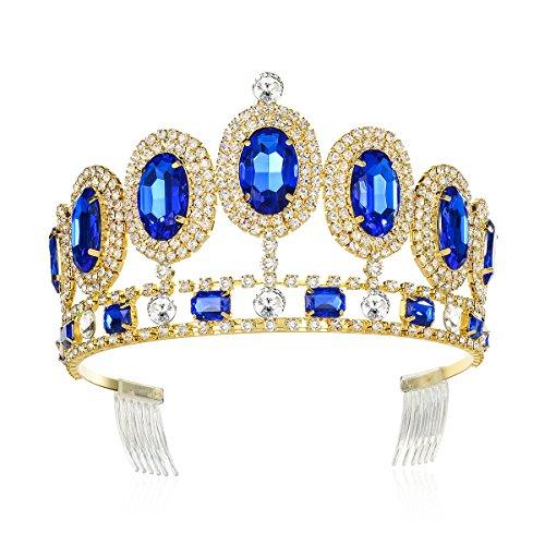 DcZeRong Crystal Tiara Rhinestone Crown Gold Princess Queen Birthday Prom Pageant Diamond Tiaras Adult Women Birthday Queen Crowns Tiaras
