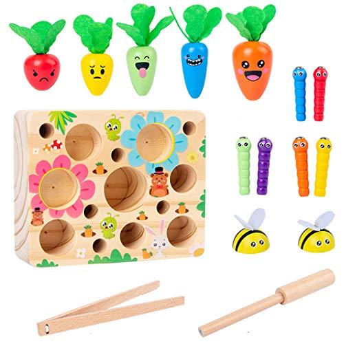 Montessori Spielzeug für Kinder, Holz, 3D-Fangeln, Wurm, Karottenspiel, pädagogisches Hilfsmittel zur Verwendung