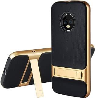 G6 Plus Case Kickstand Compatible with Moto Motorola G6Plus Phone Cases Matte MotoG6 Plus Cover Stand Holder [TPU + PC] Moto6G 6G Plus Protective Bumper for Motorola/Moto G 6Plus (Gold) - 5.9 inch