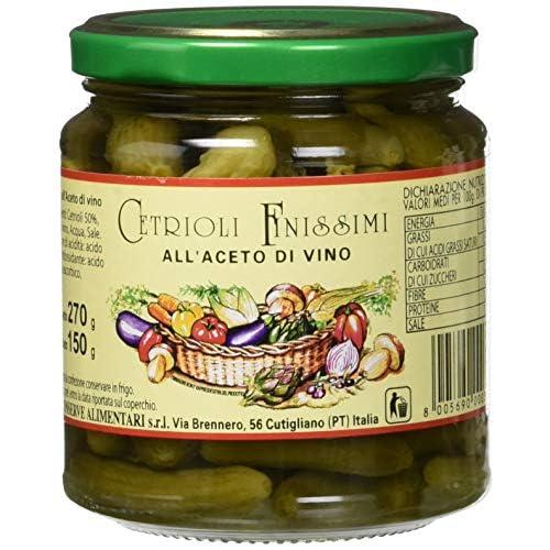 Nesti Conserve Alimentari Cetriolini all'Aceto - Pacco da 6 X 270 g