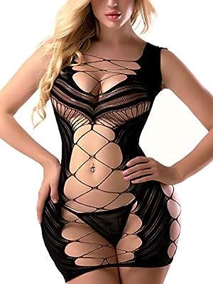 FasiCat Sexy Lingerie for Women Fishnet Halter Chemise Deep V Hot Mesh Mini Dress Bodysuit Purple