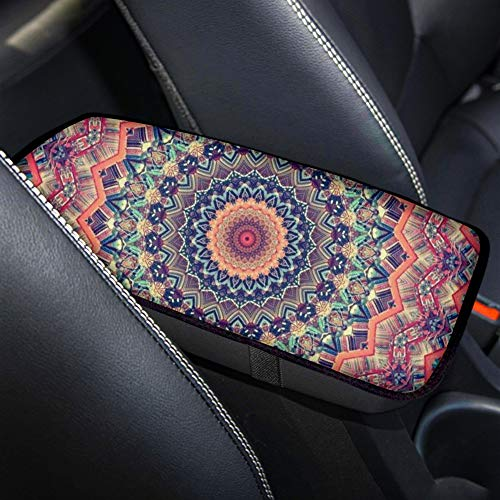 Aoopistc Boho Mandala Flower Tribal Style Car Armrest Cover for Seat Box Auto Accessories Pad Cushion Fit Most Vehicle SUV