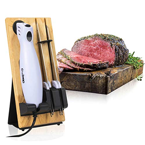 SERRATED CARVING ELECTRIC KNIFE SET By Chef PRO, With Wooden Storage Block, 2 Interchangeable Stainless-Steel Blades, Precise Cutting and Carving of Meats, Fruits, Breads, Comfortable Design, White