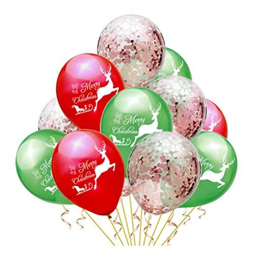 30 stuks kerstmis latex ballonnen met vrolijke kerstmis letterpatroon confetti ballonnen voor kerstfeestdagen partydecoratie nodig: 12 inch zonder band Elise roze goud