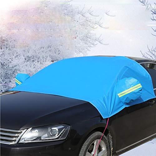 EVR Frontscheibe Auto Sonnenschutz Windschutzscheibe Auto Anti-Schnee Halbgarage Winterschutz Eisschutzfolien mit Spiegel Schutz,Blau,L