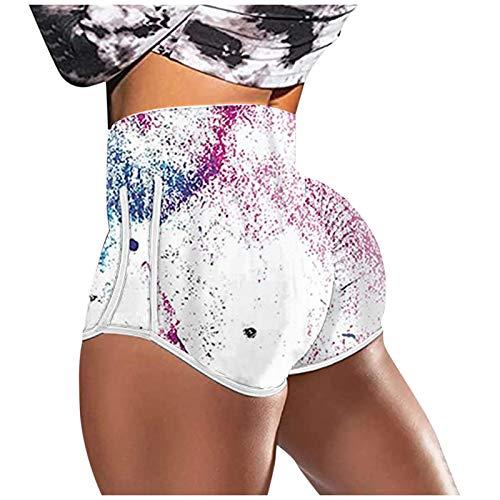 Pudyor Pantalones Cortos Deportivos Casual Shorts de Impresión Pantalón Transpirabl Elásticos de Deporte para Mujer Leggins de Cintura Alta Mallas de Yoga para Correr Gym Fitness