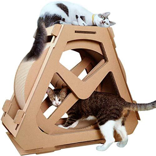 QNMM Katze Haustier Fitness Laufband Wellpappe Katze Klettern Wassertank Katzenspielzeug Katzenkratzbrett Riesenradförmige Spielzeugbett Kratzbäume Höhlenaktivitätscenter Katze Wasserrad Möbel