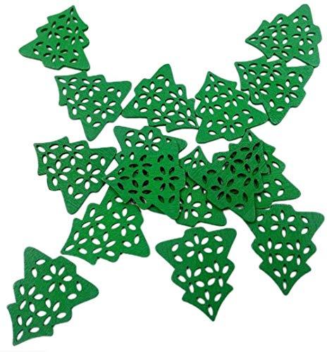 SLL Spielzeug Spielzeug Packung mit 50 grünem hölzernem Weihnachtsbaum Flacher Rück Buttons Buttons for DIY Weihnachtsdekoration