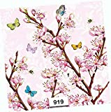 Spring Cherry Blossoms Paper Napkins Decorative Individual Luncheon Decoupage Napkin 6.5' X 6.5' Folded Set of 4