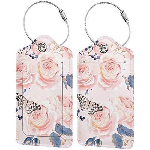 Rose Butterfly - Juego de etiquetas de equipaje de cuero personalizado para maleta de lujo