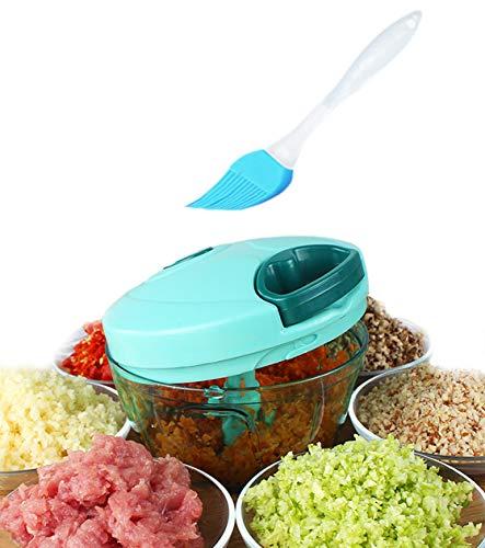 Tenta Küche Pull String Manuelle Lebensmittel Prozessor/Gemüse Schneidemaschine/Chopper Dicer/Fleischwolf/Mixer - mit 8 Zoll Premiun Silikon Pinsel