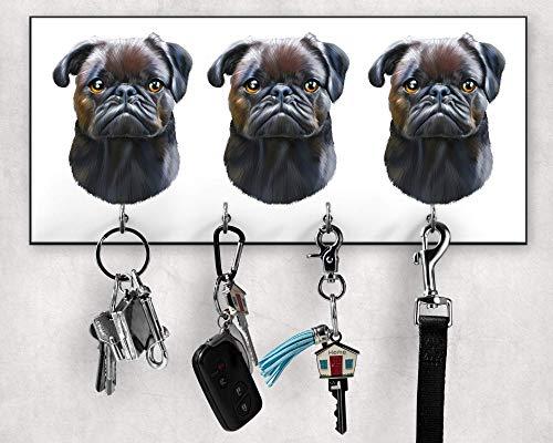 Schlüsselbrett, Mops-Leinenhalter, Mops-Besitzergeschenke, Schlüssel- und Leinenhalter für Wand, Wanddekoration, Wandorganizer, Hundeleinenhalter, Größe 28x12cm