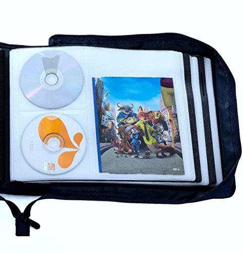 DVD CD Storage Case with Extra Wide Title Cover Pages for Blu Ray Movie Music Audio Media Disk (Portable Carrying Binder Holder Wallet Album Home Organizer)- Blue, 192 Disk Units, 96 Booklet Pockets