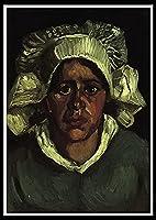 油絵 数字キットによる絵画 塗り絵 大人 手塗り DIY絵 デジタル油絵 初心者と大人がキャンバスに番号でペイントすることを目的 - Head of a Peasant Woman with White Cap.Vincent van Gogh