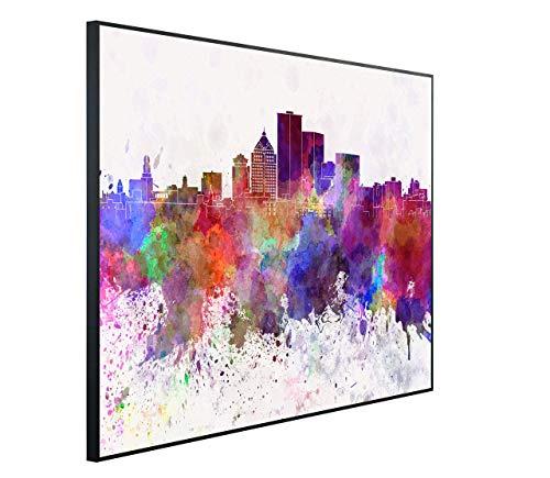 InfrarotPro C78-1200 | Infrarotheizung 1200 Watt Bildheizung 300+ Motive | Made in Germany | Geprüfte Technik | Ultra-HD Auflösung, K06: Kunst Rochester Skyline New York, 115x100x3cm