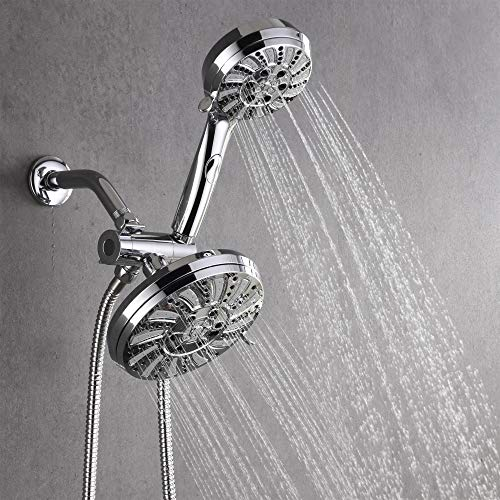"AMAZING FORCE 2 In 1 Shower Head, High Pressure 6-Setting Handheld Shower Head & 6 Inches Premium Rainfall Combo With Extra Long 71"" Shower Hose, Dual Rain Hand Showerhead Stainless Steel, Chrome."