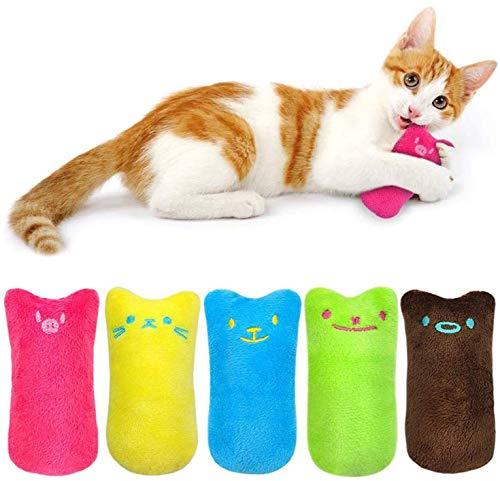 Juguete Felpa Catnip, 5 Piezas Juguetes para Gatos, Juguetes del Catnip, Gato Interactivo Juguete Limpieza de Dientes de Gato, Almohada Creativa Scratch Pet Catnip Dientes molienda Chew Toys (1-2)