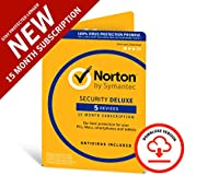 Norton Security Deluxe 2019   5 Devices   1 year + 3 months   Antivirus included   PC Mac iOS Androi...