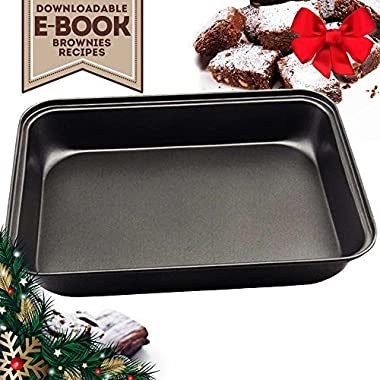 "13 x 9"" Rectangular Baking Pans Quick Release Bakeware Tray Brownie Loaf Pan with Nonstick Coating Round Edges Heatproof Stainless Steel for Beginners Professionals - eBook Included"
