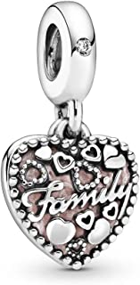 PANDORA Love Makes A Family Dangle Charm, Pink Enamel & Clear CZ 796459EN28