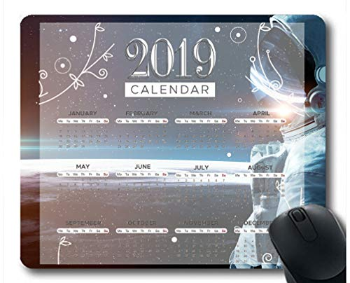 Flying Pig Man 2019 Calendar Pads,Space Astronaut Sunrise Starry Sky Planet Surface Gaming Mouse mat ?Multi 65?