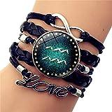 SLVVL 12 Constellation Aquarius Time Pulsera de Piedras Preciosas Carta de Amor Pulsera Trenzada Multicapa Retro