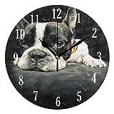 Mnsruu - Reloj de Pared (Funciona con Pilas, Redondo, diseño de Bulldog francés, Reloj de Pared silencioso, decoración del hogar, para Sala de Estar, Cocina, Dormitorio)